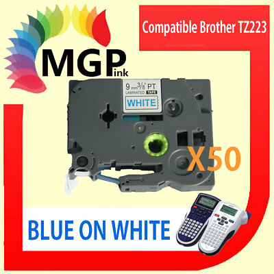50 LAMINATED 9mm Blue on White Label Tape for Brother TZ 223 PT9700PC PT9800PCN