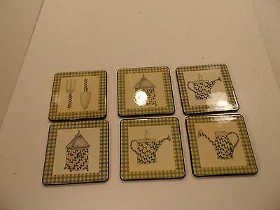 Mary Hughes Garden Tools Coasters - Lot of 6 - VGC