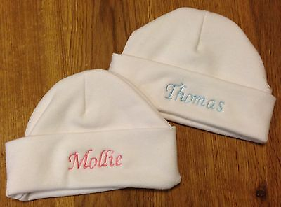 Personalised Embroidered Newborn Baby Hat Any Name. Boy Girl Gift. D.