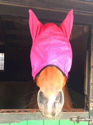New Horse Mesh Fly Mask With Ears Dark Pink - Free P/p