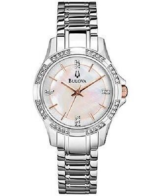 Bulova 98L180 Women's Sunray Dial Rose Gold Tone Markers Stainless Steel Watch