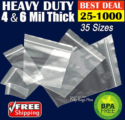 Clear 4-Mil Ziplock Bags HEAVY-DUTY Reclosable Zip Top Plastic Zipper Poly Ml ""