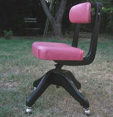 DOMORE antique task desk chair mid century modern pink & black The Sentinel NR