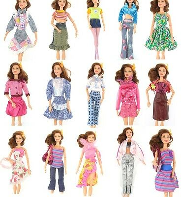 15 Items Fashion Party Daily Wear Dress Outfits Clothes Shoes For Barbie Doll e