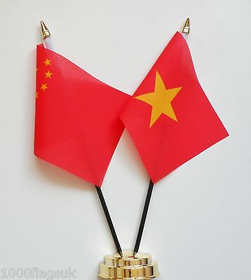 China & Vietnam Double Friendship Table Flag Set