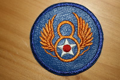 WW2 US 8TH ARMY AIR FORCE A.A.F. AAF STANDARD TYPE WING BLUE LEATHER PATCH