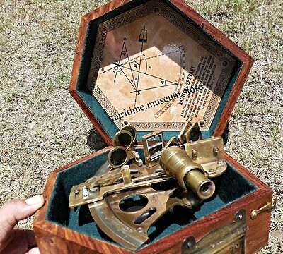 7'' Handmade Brass Nautical Sextant with Wooden Box/ Best Gift.