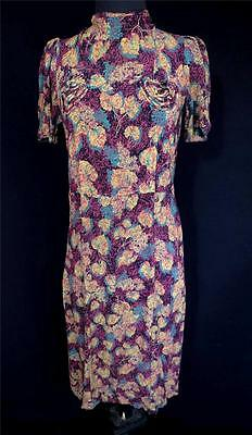VERY RARE PRINT FRENCH VINTAGE 1930'S-1940'S WWII ERA RAYON DRESS SIZE 4