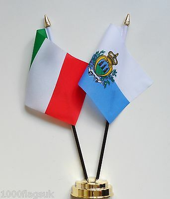 Italy & San Marino Double Friendship Table Flag Set