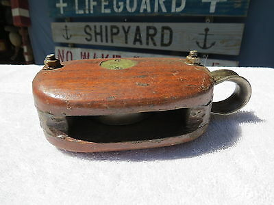 3+3/4 Inch Wood Bronze  Pulley Block And Tackle Pully Sail Boat (#71)