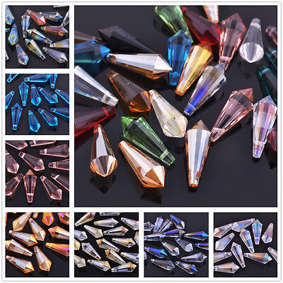 8pcs 20x8mm Faceted Glass Crystal Point Teardrop Charms Pandent Beads 17 Colors