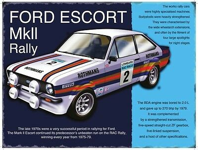 Ford Escort MkII Classic Rally Car, Large Metal Tin Sign, Picture, Plaque