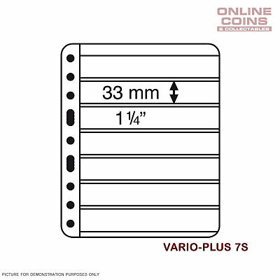 Lighthouse Vario PLUS 7 Pocket Black Banknote / Stamp Album Pages Pack of 5