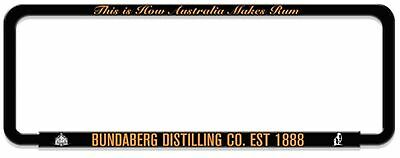 Genuine Bundaberg Rum License Plate Frame, set of 2, BNS Ute Muster Aussie 4x4