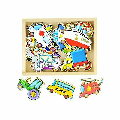 NEW Fun Factory Wooden Magnetic Transport Vehicles Car Set 20pcs Educational Toy