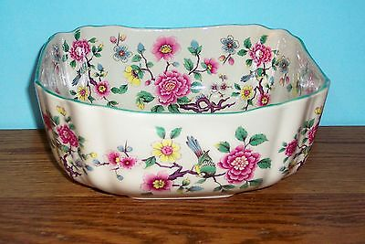 """JAMES KENT OLD FOLEY CHINESE ROSE   8.5"""" X 3.5"""" SQUARE BOWL"""