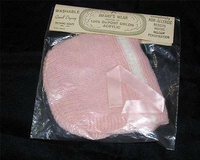 VTG 1950'S UNUSED, iop PINK KNITTED DUPONT ORLON BABY CAP, GREAT SHOWER GIFT!