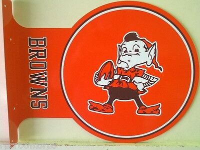CLEVELAND BROWNS DOUBLE SIDED FLANGE STYLE METAL SIGN NFL FOOTBALL SPORTS
