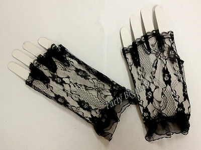 New Womens Black Sexy Floral Lace Gloves Wrist Length  Party Wedding Costume-Au