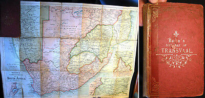 Circa 1899 Map Of Transvall Original Cover South Africa Cape Colony Linen Backed