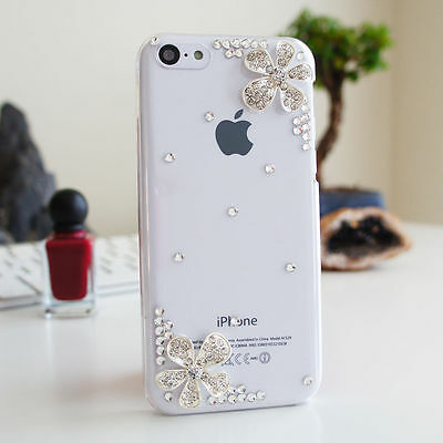 3D Flower Luxury Bling Glossy Diamond Crystal Case Cover For iPhone 5s 5c SE 6P