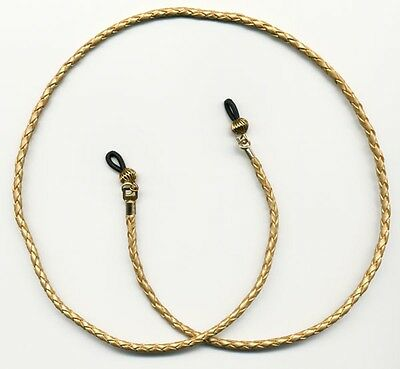 Gold Braided Leather Eyeglass Strap 24 inch length