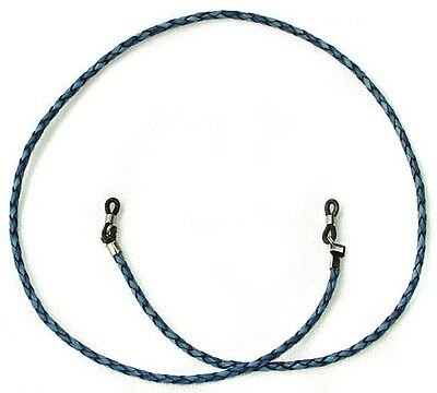 Natural Blue Braided Leather Eyeglass Strap 30 inch length