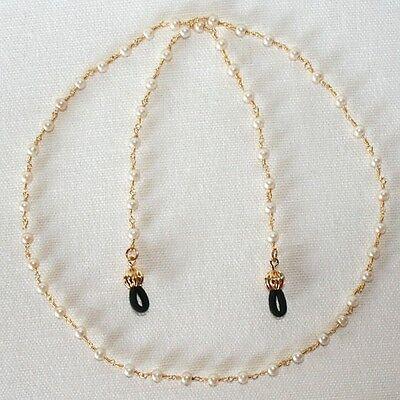Pearls on Gold plated Eyeglass Chain- 30 inch length