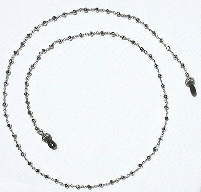 Sterling Silver and Silver Pyrite Beads Eyeglass Chain- 24 inch length