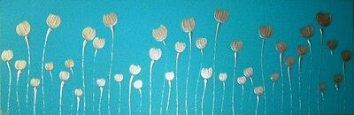 Original Modern Abstract Canvas Painting Blue Silver Poppies Dee's Funky Art