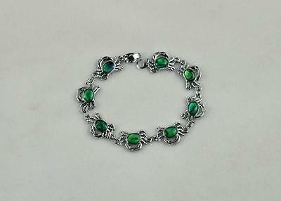 12x16mm Green Crab Abalone Shell Bracelet 7.5''