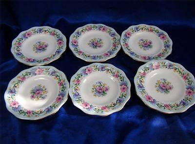 Foley Bone China  Cornflower  Pink Pale Blue Most Gorgeous Plates Ever Made x 6