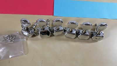 Squier Stratocaster Strat Set of 6 Inline Tuners Tuning Pegs Vintage Style