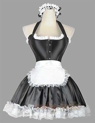 French Maid Halter Lolita Corset Costume Mini Skirt Size S-2XL Outfit WC A2452