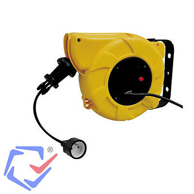 Auto Rewind Cable Reel 15M Heavy Duty Plug Type E Electrical Extension 240V