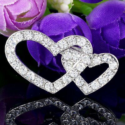 #P534A Bridal Wedding Dual Heart Deluxe Clear Crystal Decoration Pin Brooch