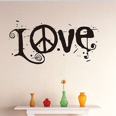 Removable Word Love Peace Sign Decals Wall Sticker Home Decor Art DIY