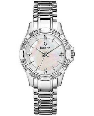 Bulova 96L191 Women's Mother of Pearl Dial Crystals Accents on Bezel Dial Watch