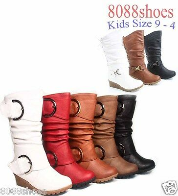 Youth Girl's Cute Buckle Zipper Low Wedge Slouch Boot Shoes 5 Colors Size 9 - 4