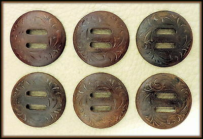 """6 - 1 1/2"""" Hand Engraved Slotted Rust / Brown iron Conchos -"""