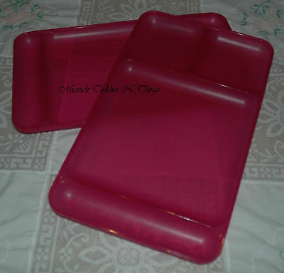 Tupperware Dining Trays Plate Set Of 2 - Fuschia Pink