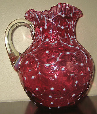 VICTORIAN CRANBERRY  OPALESCENT CORAL REEF / SEAWEED WATER PITCHER