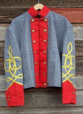 civil war confederate reenactor artrillery shell jacket with 3 row braids 46