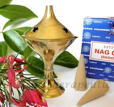 BRASS CHARCOAL INCENSE CONE BURNER/HOLDER Cones Resin Wicca Magic Pagan Smudge