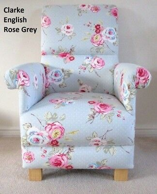 Childs Chair Children Armchair Clarke English Rose Grey Nursery Pink Roses Kids