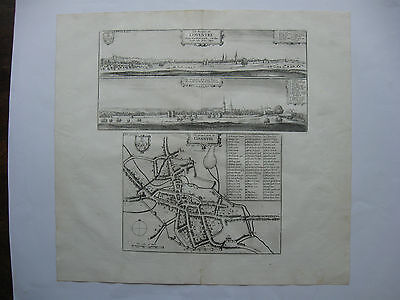 1656 Town Plan Panorama Coventry Hollar Antique Old Map Dugdale Warwickshire vgc