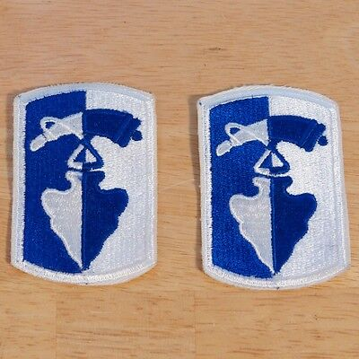 Lot of 2 Vintage 187th Infantry Brigade Military Patches Arrowhead Powder Horn