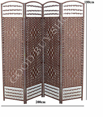 XL 200cm Folding Rattan Bedroom Change Fitting Room Privacy Screen Room Divider