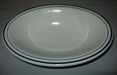 "VINTAGE SHENANGO CHINA USA OVAL SERVING BOWL-BLUE LINES-10"" BY 7.5""-EXCELLENT"