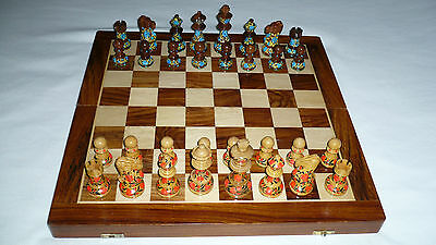 """1 Beautiful Wooden Handpainted Chess Set Red/Blue/Brown King 3 3/4"""" Never used"""